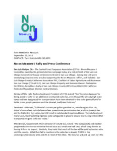 Rally Press Release • NO on Measure J • September 12