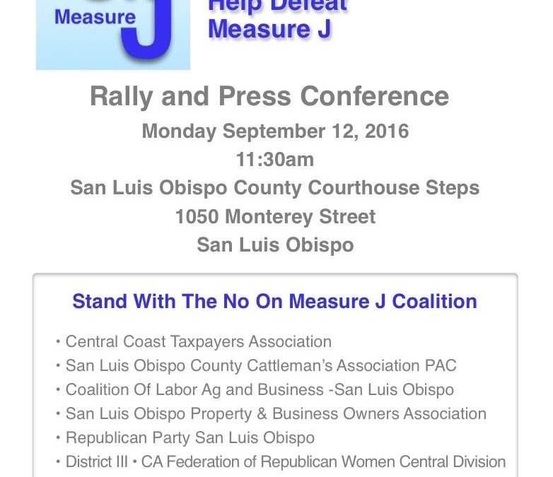 NO on Measure J-16 Rally and Press Conference September 12 at 11:30am